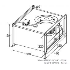 Вентилятор канальный прямоугольный KORF WRW 40-20/20-4D