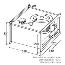 Вентилятор канальный KORF WRW 50-25/22-4D